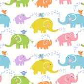 SHOWER TIME ELEPHANTS white