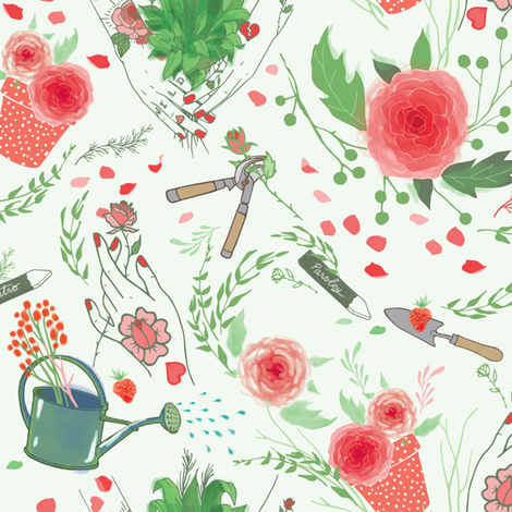 Delicate Gardening fabric by appaloosa_designs on Spoonflower - custom fabric