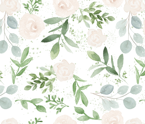SEAMLESS watercolor Larger flower paper fabric by daily_miracles on Spoonflower - custom fabric