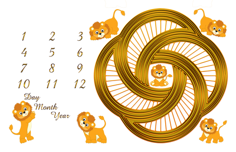 Little Lions Growth Blanket 56x36 fabric by stradling_designs on Spoonflower - custom fabric
