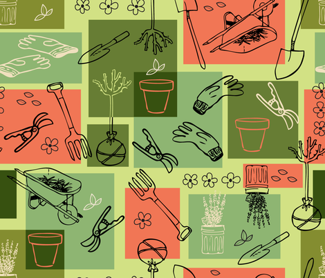 Gardening Grid fabric by vinpauld on Spoonflower - custom fabric