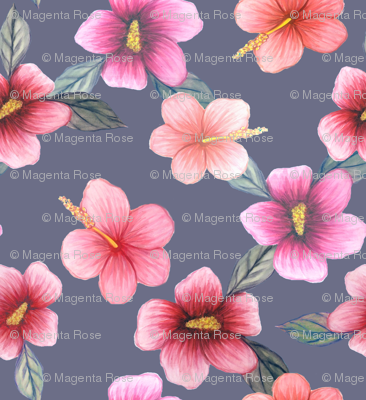 watercolor hibiscus floral on grey