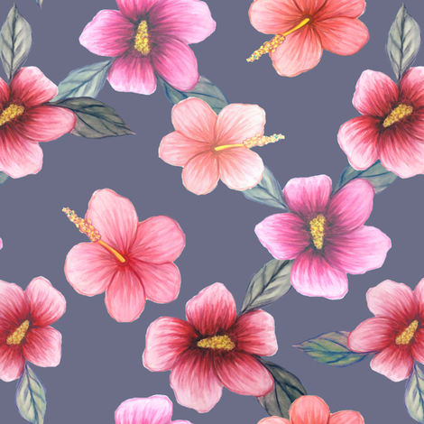 watercolor hibiscus floral on grey fabric by magentarosedesigns on Spoonflower - custom fabric