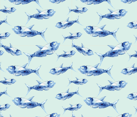 Fish Fossil fabric by cathleenbronsky on Spoonflower - custom fabric