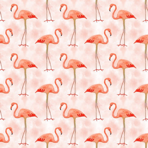 Flamingos on Peach Sky