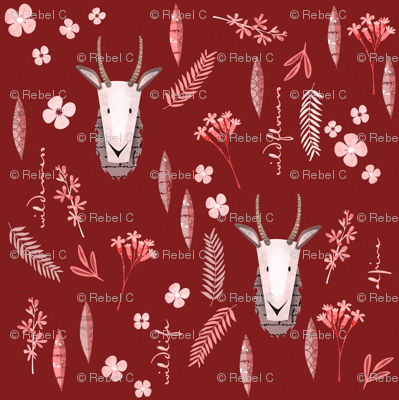 Goats on dark red - small