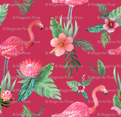 Watercolor flamingo on red // flamingo dream garden