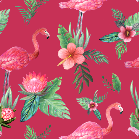 Watercolor flamingo on red // flamingo dream garden  fabric by magentarosedesigns on Spoonflower - custom fabric