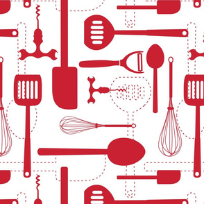 Kitchen Utensils in Red