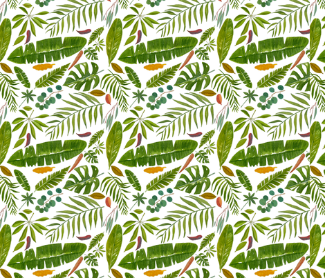 Tropicl Leaves fabric by parrots on Spoonflower - custom fabric