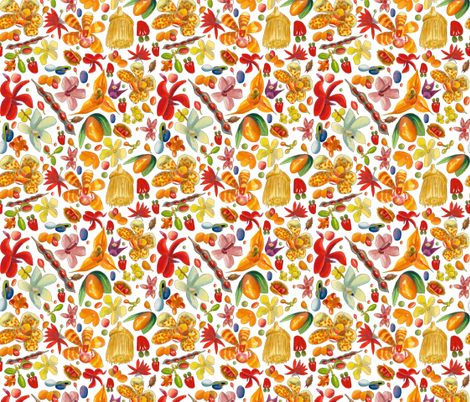 Tropical fruit fabric by parrots on Spoonflower - custom fabric