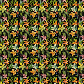 Tropical leaves and flora black