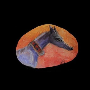 Greyhound - oil painted on stone-for cushionsbags etc