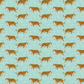 (MICRO SCALE) walking tiger on dark mint (woven) C18BS