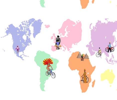 Cycling the World fabric by hobbitrosie on Spoonflower - custom fabric