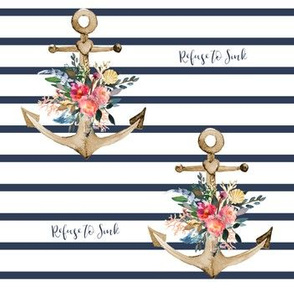 "7"" Refuse to Sink Floral Anchor Stripes"