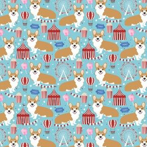 corgi carnival (small scale) cute corgis dog breed fabric light blue