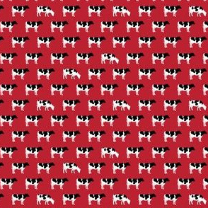 (MICRO SCALE) cows on red - farm fabric - C18BS