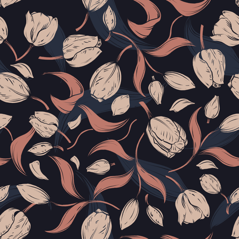 Modern Tulip Leafage In Muted Colours Wallpaper Marion