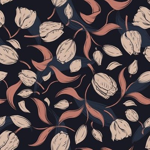 modern tulip leafage in muted colours