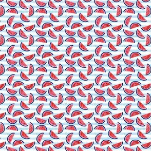 (MICRO SCALE) watercolor watermelon on blue stripes - red white and blue - July 4th fabric C18BS