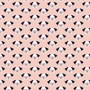 (MICRO SCALE) dog with glasses - polka peach C18BS