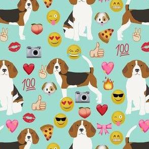 beagle emoji cute funny dog breed fabric mint