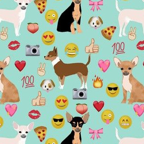 chihuahua emoji cute funny dog breed fabric mint