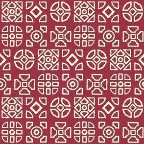 Hedgerow Motifs on Red