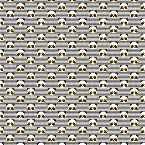(MICRO SCALE) pandas with glasses - grey stripes gold C18BS fabric by littlearrowdesign on Spoonflower - custom fabric