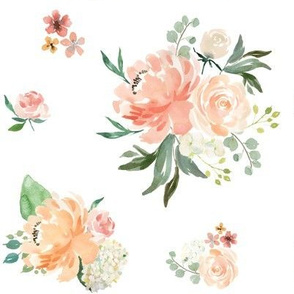 """8"""" Spring Friends Florals / White / 90 degrees"""