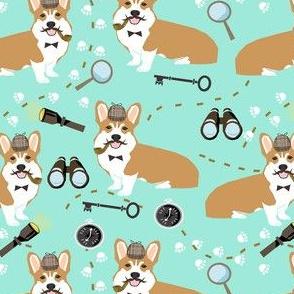 corgi detective sherlock holmes dog fabric bright