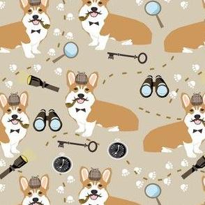 corgi detective sherlock holmes dog fabric tan