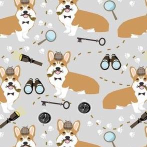 corgi detective sherlock holmes dog fabric grey