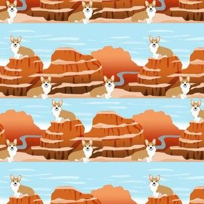corgi grand canyon pupper vacation dog fabric