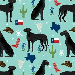 great dane texas dog breed state fabric blue