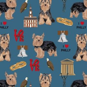 yorkie philly dog breed fabric philadelphia yorkshire terrier blue