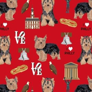 yorkie philly dog breed fabric philadelphia yorkshire terrier red