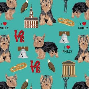 yorkie philly dog breed fabric philadelphia yorkshire terrier teal