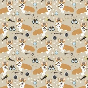 corgi detective sherlock holmes dog fabric
