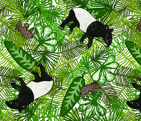 Tapir Jungle fabric by thewellingtonboot on Spoonflower - custom fabric
