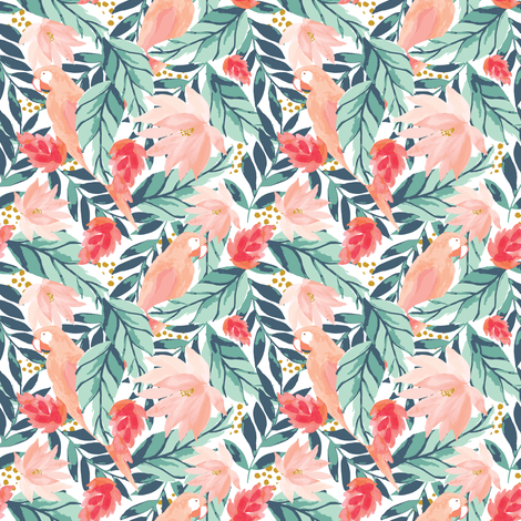 IBD Floral Tropic Parrot A fabric by indybloomdesign on Spoonflower - custom fabric