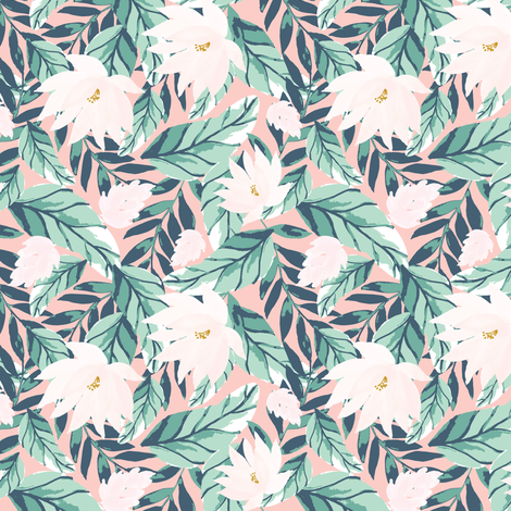 IBD-Floral-tropic-White-florals- A fabric by indybloomdesign on Spoonflower - custom fabric