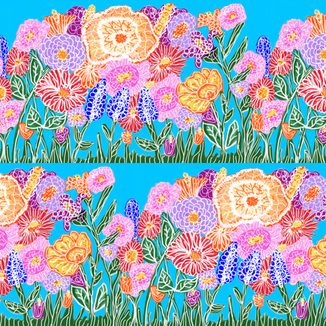 Flower Power Border fabric by fabric_is_my_name on Spoonflower - custom fabric