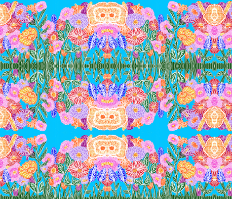 Flower Power on Blue fabric by fabric_is_my_name on Spoonflower - custom fabric