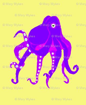 SM Purple Octopus Swim Meet on pastel yellow