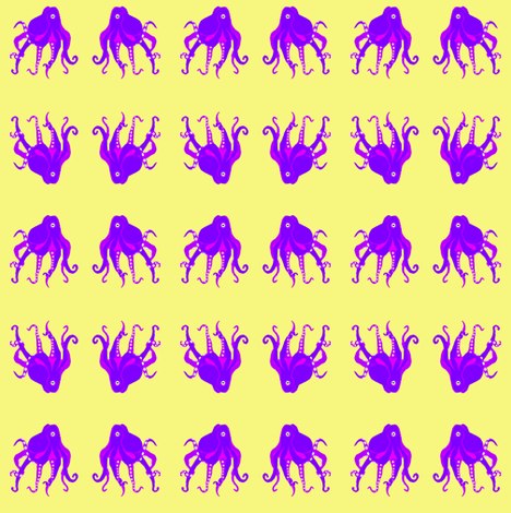 SM Purple Octopus Swim Meet on pastel yellow fabric by maryyx on Spoonflower - custom fabric