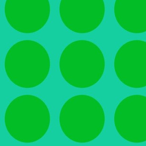 Green Dots on Greenish Blue Large - Spring Dots