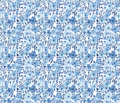 Small Scale Blue Rose Pattern Small fabric by mygiantstrawberry on Spoonflower - custom fabric