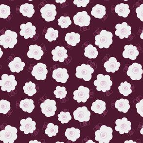 Fluffy Flowers-White on Purple